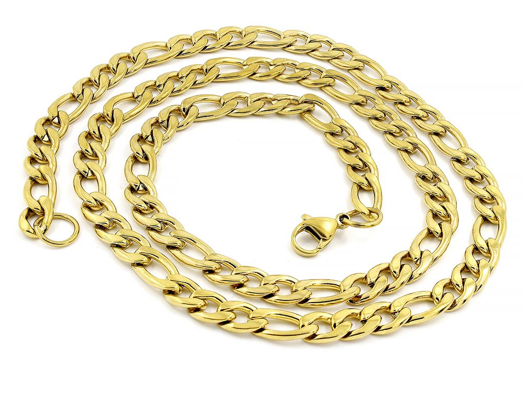 Klasický řetízek Figaroze zlatém provedení - Chirurgická ocel