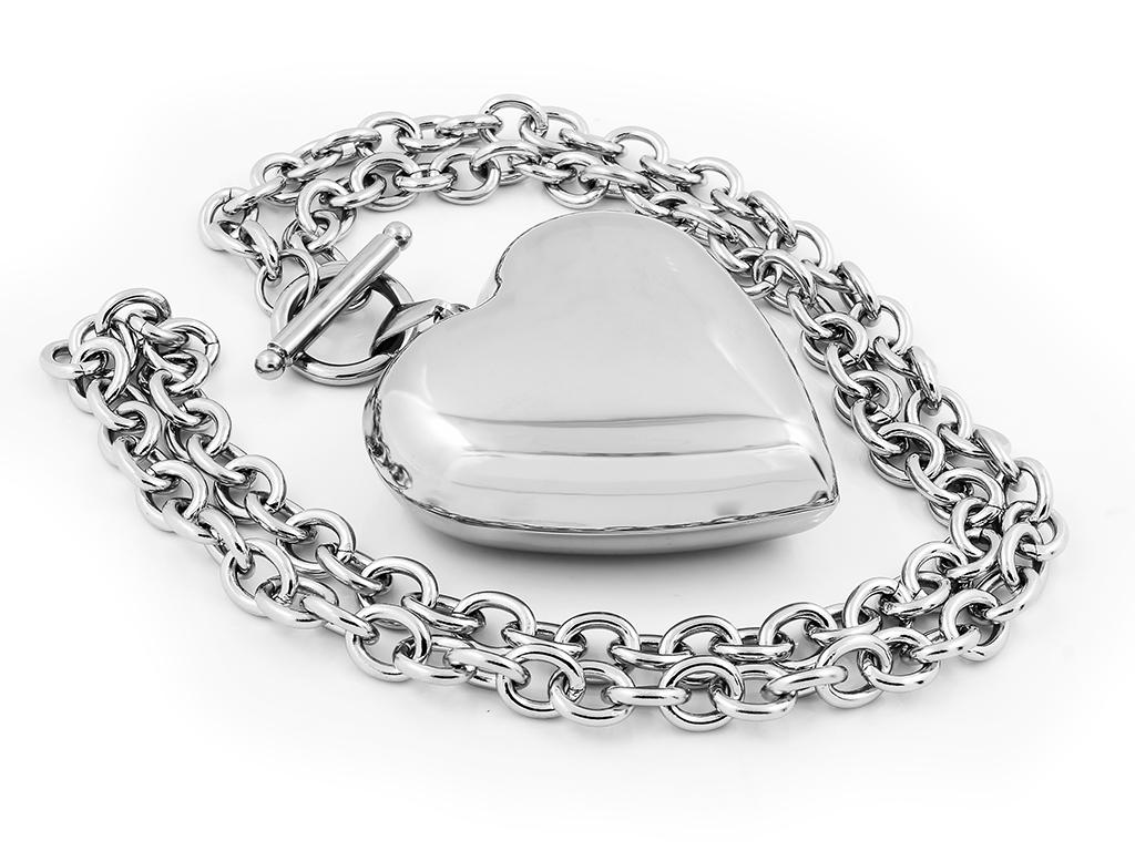 Náhrdelník s přívěskem srdce, chirurgická ocel