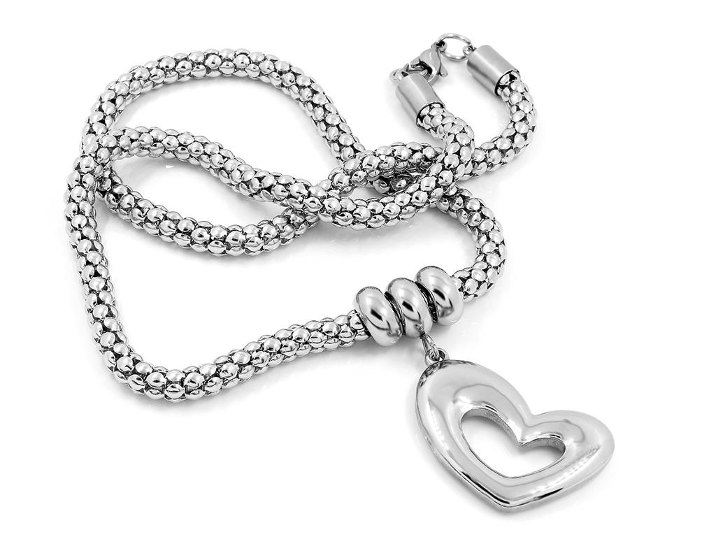 Náhrdelník jemné srdce s řetízkem, chirurgická ocel