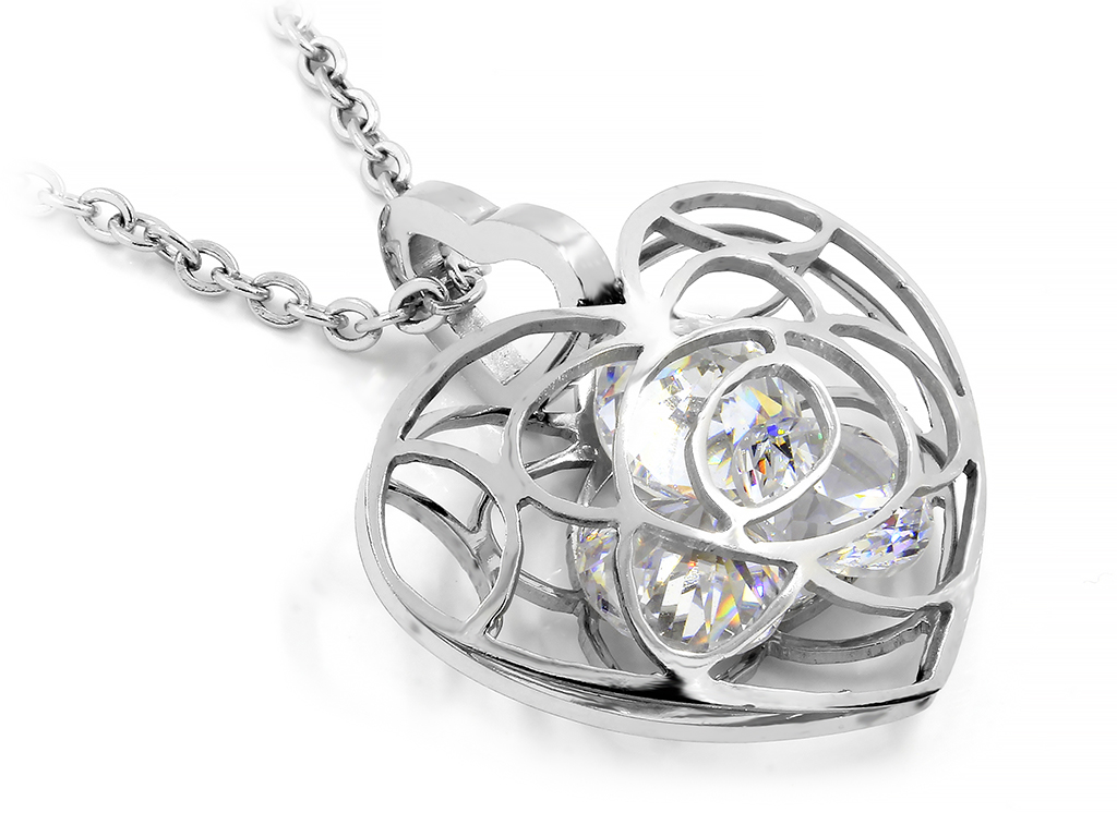Náhrdelník srdce s ukrytými zirkomy - Chirurgická ocel