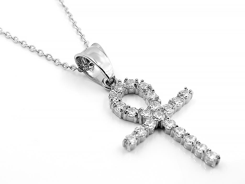 Jemný ocelový křížek se zirkony