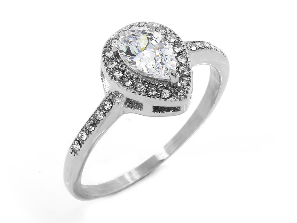 Jemný dámský prsten se zirkony, vhodný i jako zásnubní....