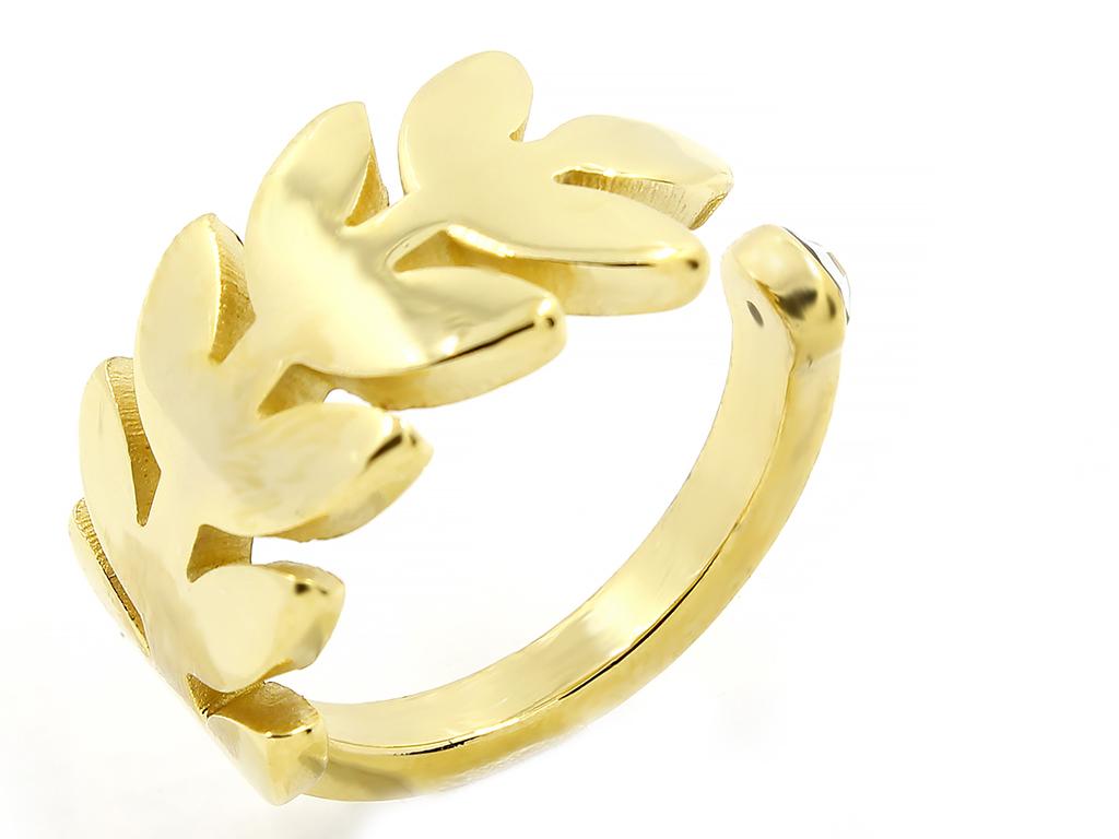 Netradiční dámský ocelový prsten ve zlatém provedení se zirkonem