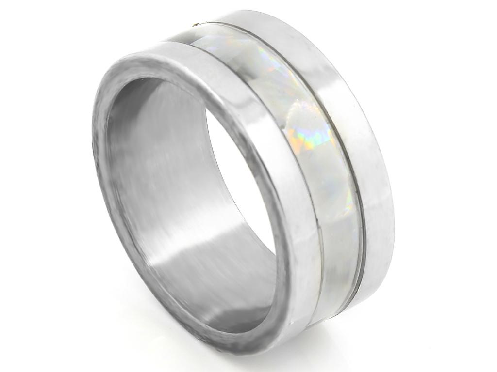 Unisex prsten ve stříbrném provedení s perletí